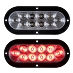 "6"" Flange Mount Oval Sealed LED Stop/Turn/Tail Light (Clear Lens)"