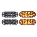 "6"" Oval Sealed Clear LED Yellow Parking/Turn Signal Light (10 diodes) Pair"