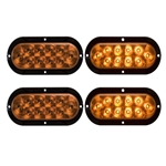 "6"" Flange Mount Oval Sealed LED Yellow Parking/Turn Signal Light Pair"