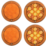 "4"" Round Sealed LED Parking/ Turn Signal Light with Reflex Mounting Flange Pair"