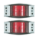 Red Armored Die Cast LED Marker/Clearance Light Pair