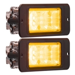 Recess Mount LED Directional Warning Light Amber Pair